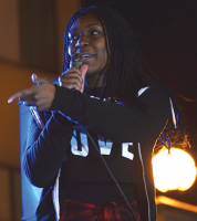 Junior Jaiana Singleton drops a beat during the Rap Battle