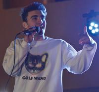 Freshman Sal Siciliano raps during  Thursday's event.