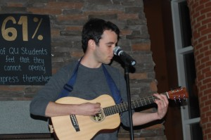 Junior Andrew Loeser performs at Wednesday's event.