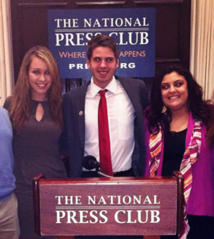 Shamar McCrae, Cassidy Fitzgerald, Colton Hoffman, Angela Bonito and Nicole Dwyer (from left to right). The photo was taken at The National Press Club where the students attended a dinner reception on behalf of The Washington Center.