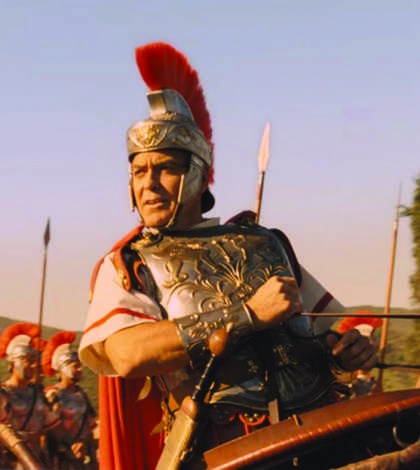 Julius Caesar, played by George Clooney, charges into battle.
