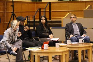 From left to right: University Honors Program Director Kathy Cooke, sociology professor Don Sawyer, legal studies professor Sujata Gadkar-Wilcox and sociology professor Keith Kerr lead the discussion with students.