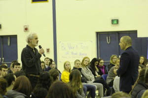 Professor Timothy Dansdill asks Hines a question.