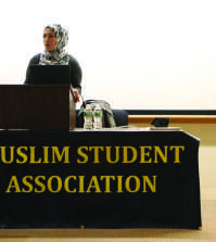 "Assisting Muslim Chaplain at Trinity College Shine Hawramani (above) spoke to students during the ""Women in Islam"" lecture as part of MSA's Islamic Awareness Week."