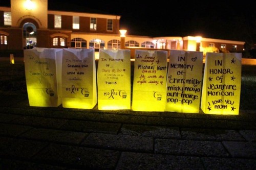 This year's Quinnipiac's Relay for Life will take place in September. Participants line the Quad with bags commemorating their loved ones.