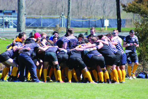 New Blue Rugby gathers prior to Sunday's game vs. University of Hartford Rugby.