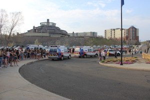 Students lined up outside the TD Bank Sports Center hours before the annual Wake the Giant spring concert.