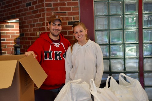 Sophomores Micah Cutler and Halle Conway collected food donations from students on May 3
