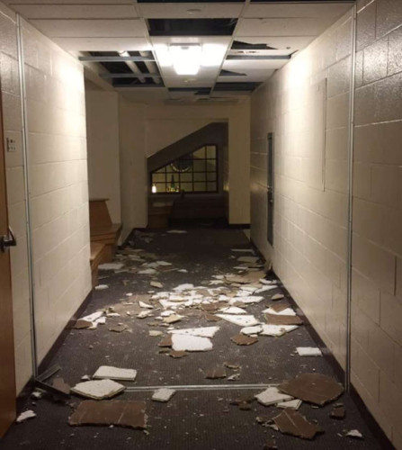 Ceiling tiles were punched out in Commons on Saturday, April 30