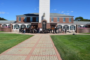 Approximately 40 members of the community gathered on the Arnold Bernhard Library steps on Sept. 24 for a peaceful protest.