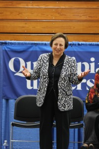 Shirin Ebadi spoke to students about their personal struggles when trying to bring peace to their respective countries, encouraging them to be proactive within their communities.