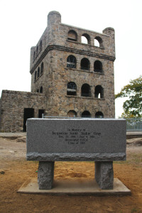 Jackie's bench sits in front of the tower on Sleeping Giant State Park.