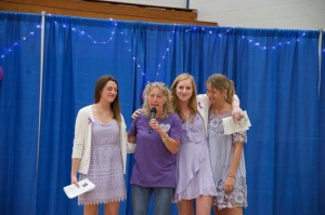 Caroline Tanner, Emily Jackson and Lauren Gardner stand with Jackie's mother, Sandra Gray.