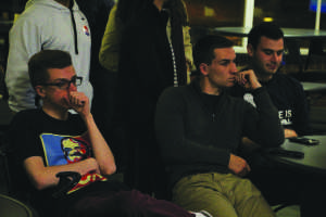 Joe Iasso and Chris Desilets  were among many students who waited for the election results.