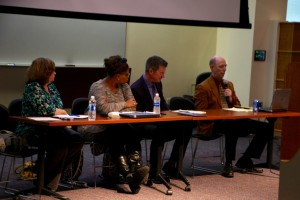 Media studies professor Lisa Burns, associate political science professor Khalilah Brown-Dean and political science professors Sean Duffy and Scott McLean moderated the discussion.