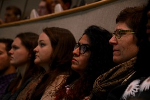 Students listen to the discussion on the 2-16 presidential election results.